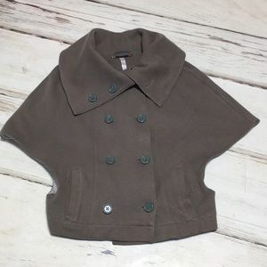 Free People Jacket Poncho Wide Collar Olive Small